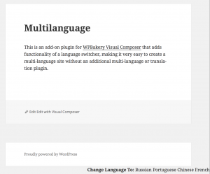 Visual Composer Multilanguage Plugin Language Switcher