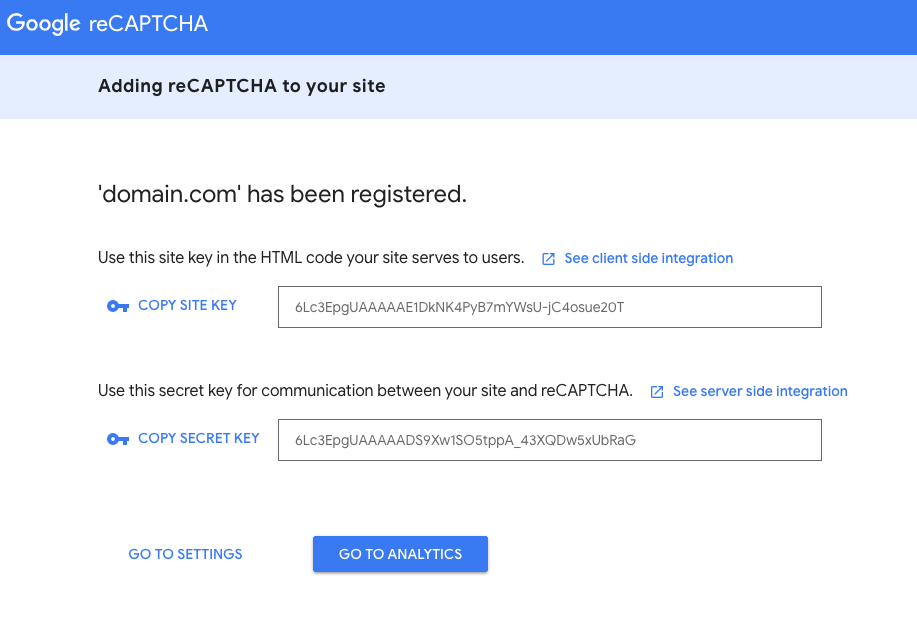 Google ReCaptcha Site and Secret Key