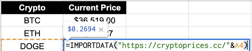 Dynamic Crypto Price